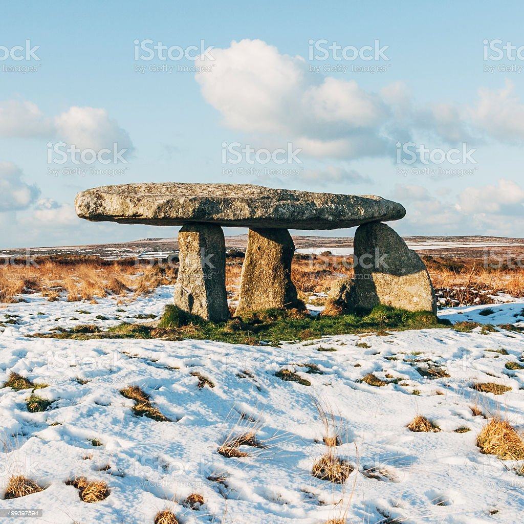 Lanyon Quoit Portal Dolmen in West Cornwall, England stock photo
