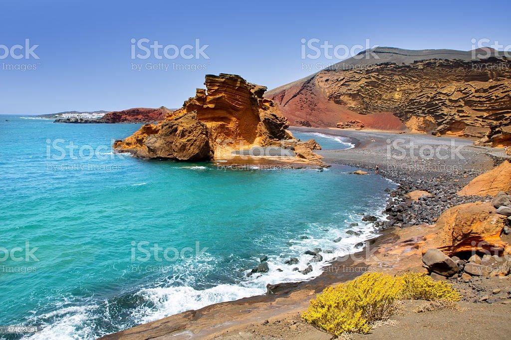 Lanzarote El Golfo Lago de los Clicos stock photo