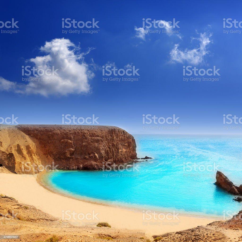 Lanzarote El Papagayo Playa Beach in Canaries stock photo