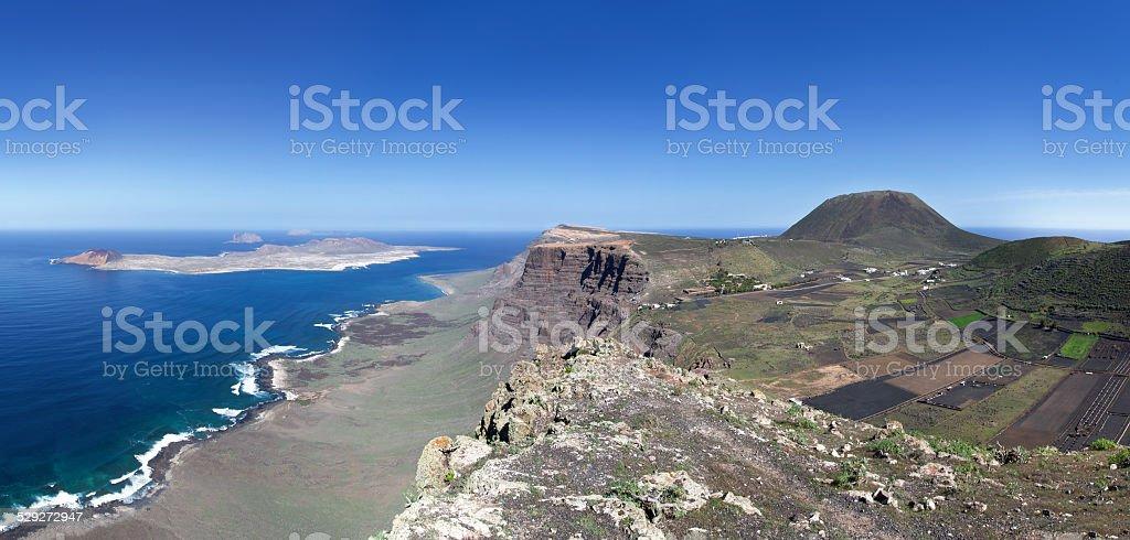 Lanzarote - La Graciosa, Famara Cliff and Monte Corona royalty-free stock photo