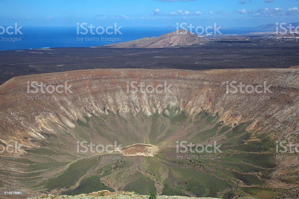 Lanzarote - Look at the giant crater Caldera Blanca royalty-free stock photo
