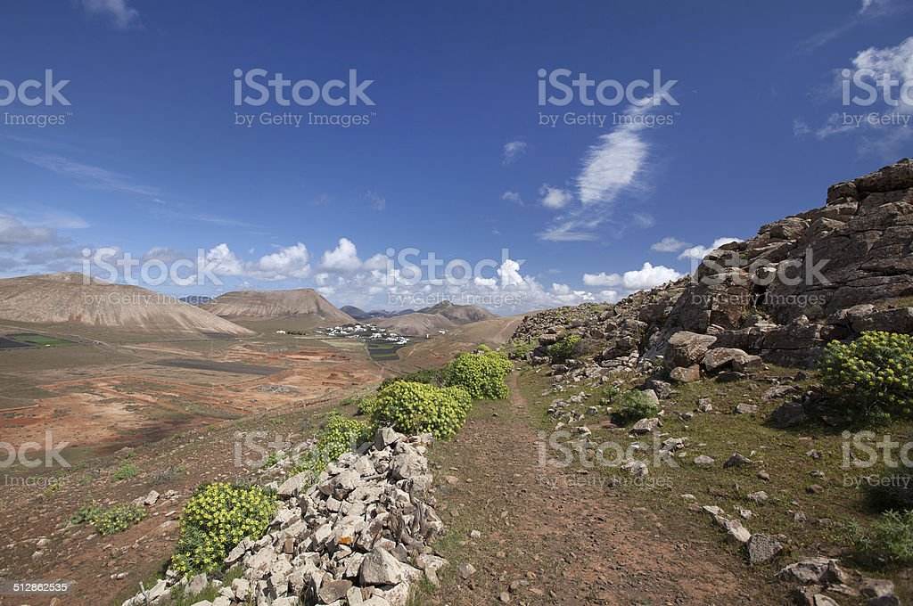 Lanzarote - Mountains of Ajaches - Trail in Femes Valley royalty-free stock photo