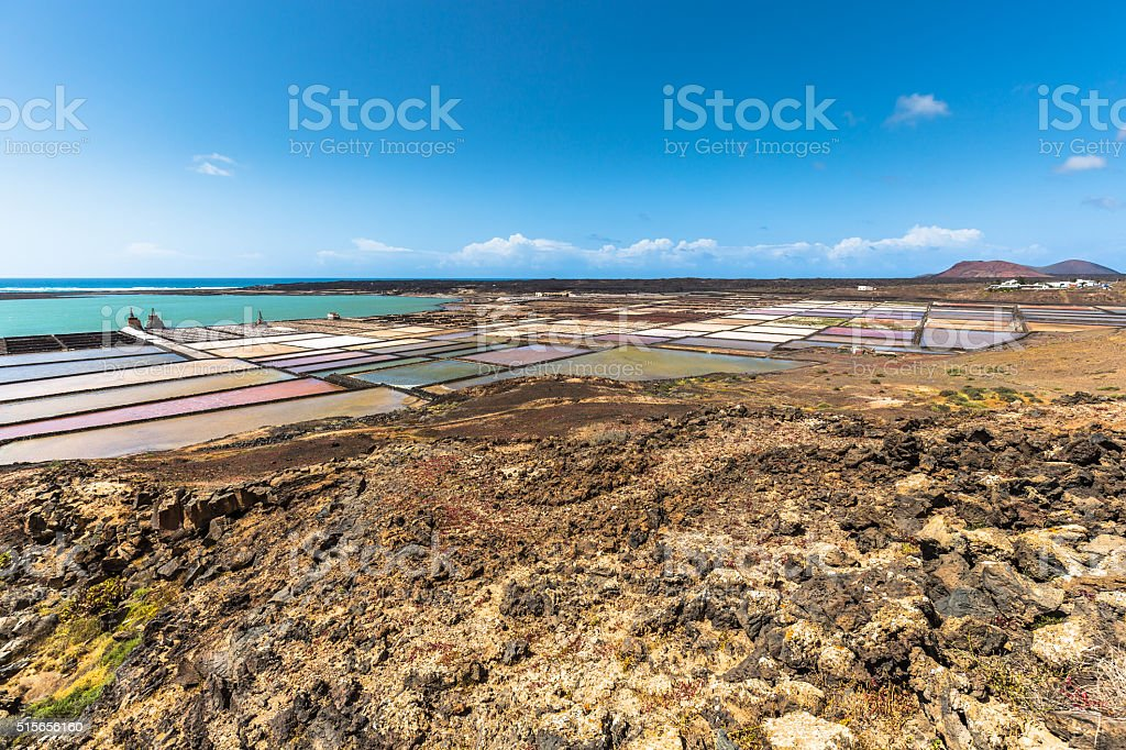 Lanzarote saltworks salinas de Janubio colorful Canary Islands stock photo