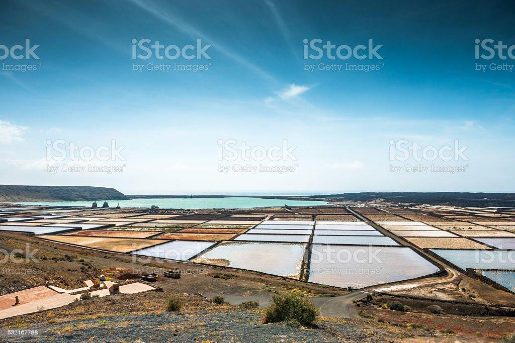 Lanzarote saltworks salinas de Janubio stock photo