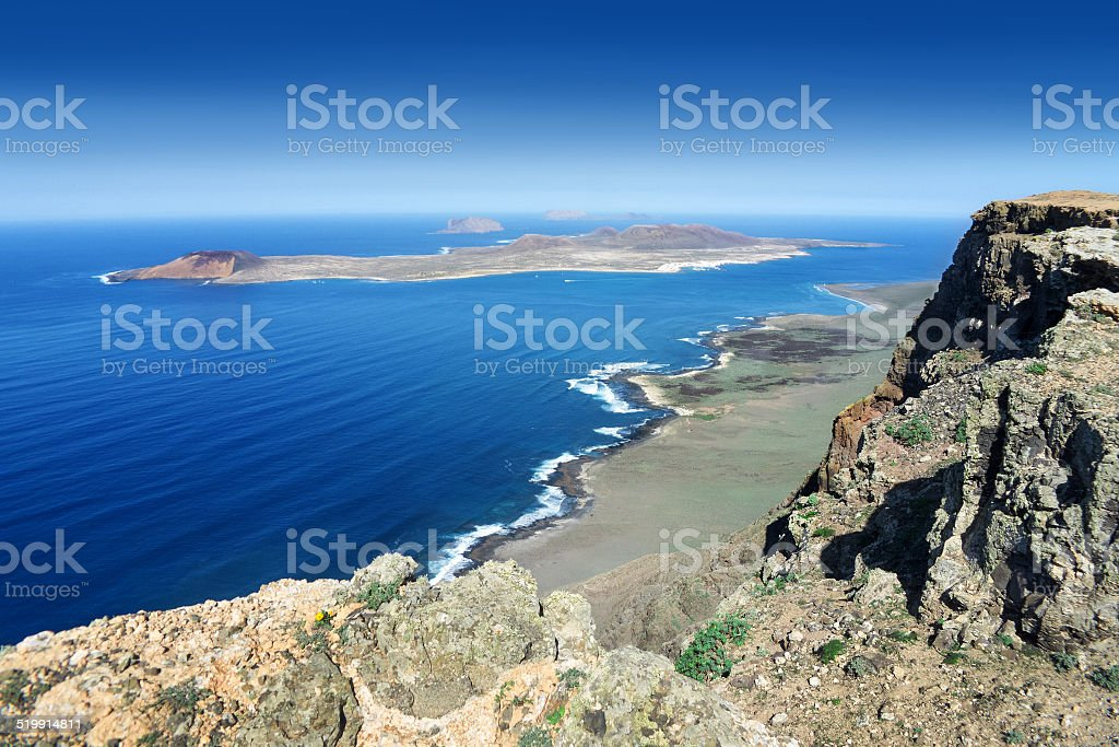 Lanzarote - View from Famara Cliff to La Graciosa royalty-free stock photo