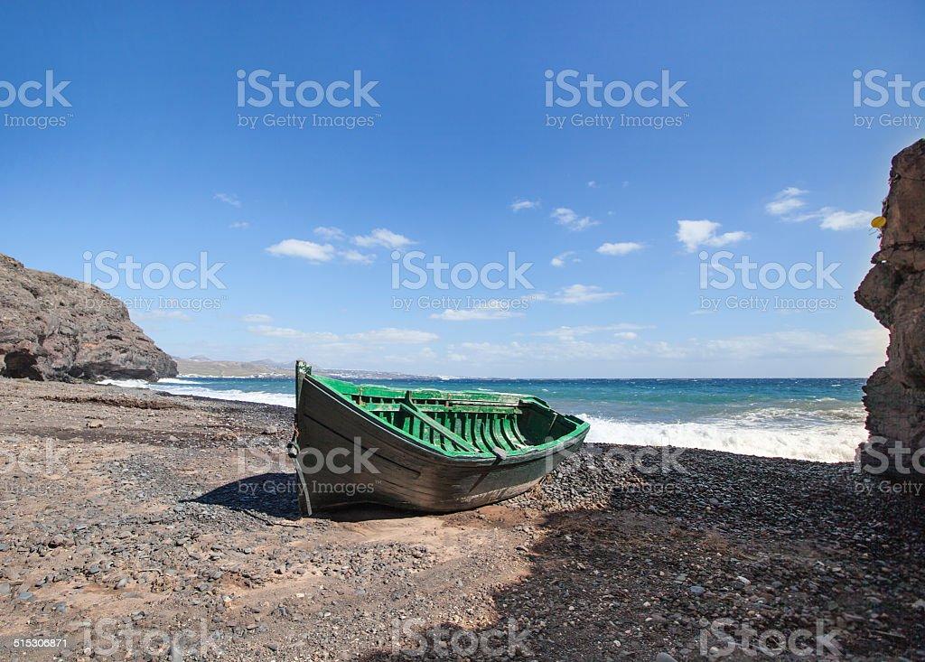 Lanzarote - Wooden boat in the Barranco de la Casita stock photo