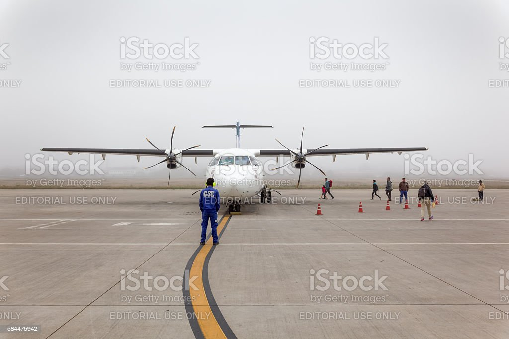 Lao Airlines ATR 72-500 at Luang Prabang Airport stock photo
