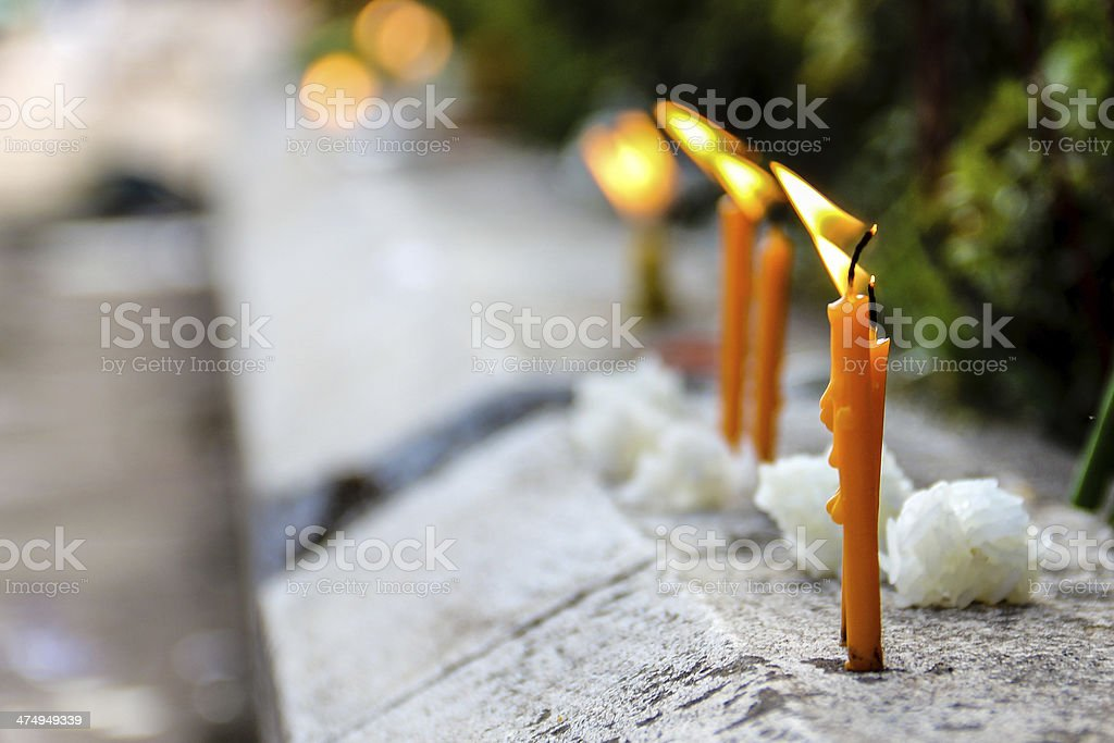 Lao Candles And Sticky Rice Offering stock photo