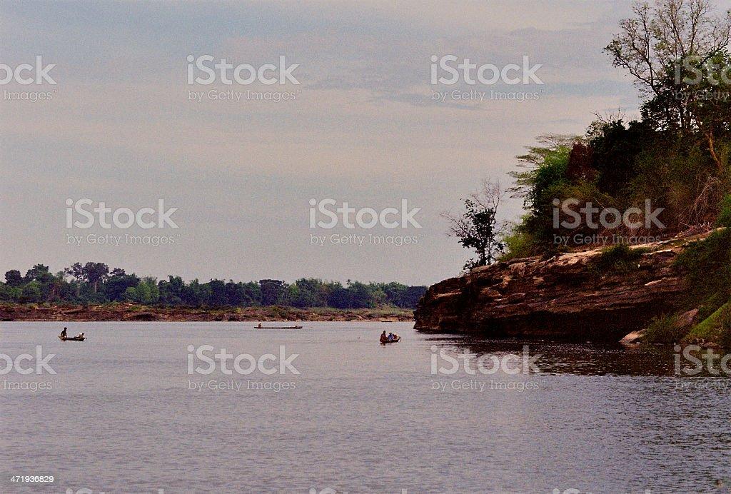 Lao Fishermen at Work stock photo