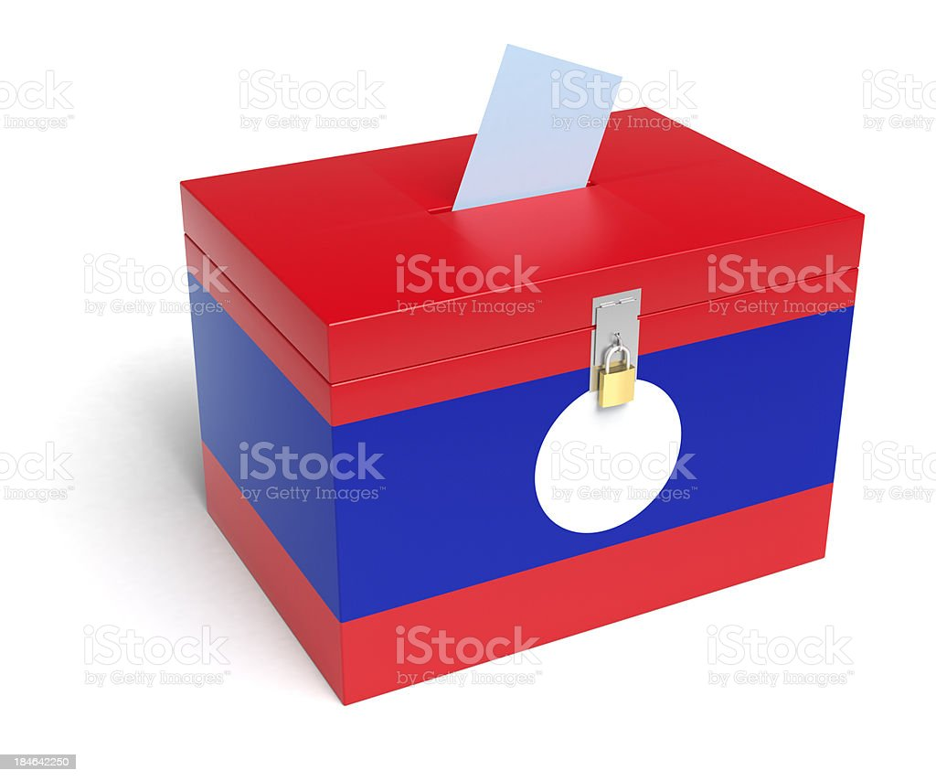 Lao Flag Ballot Box stock photo