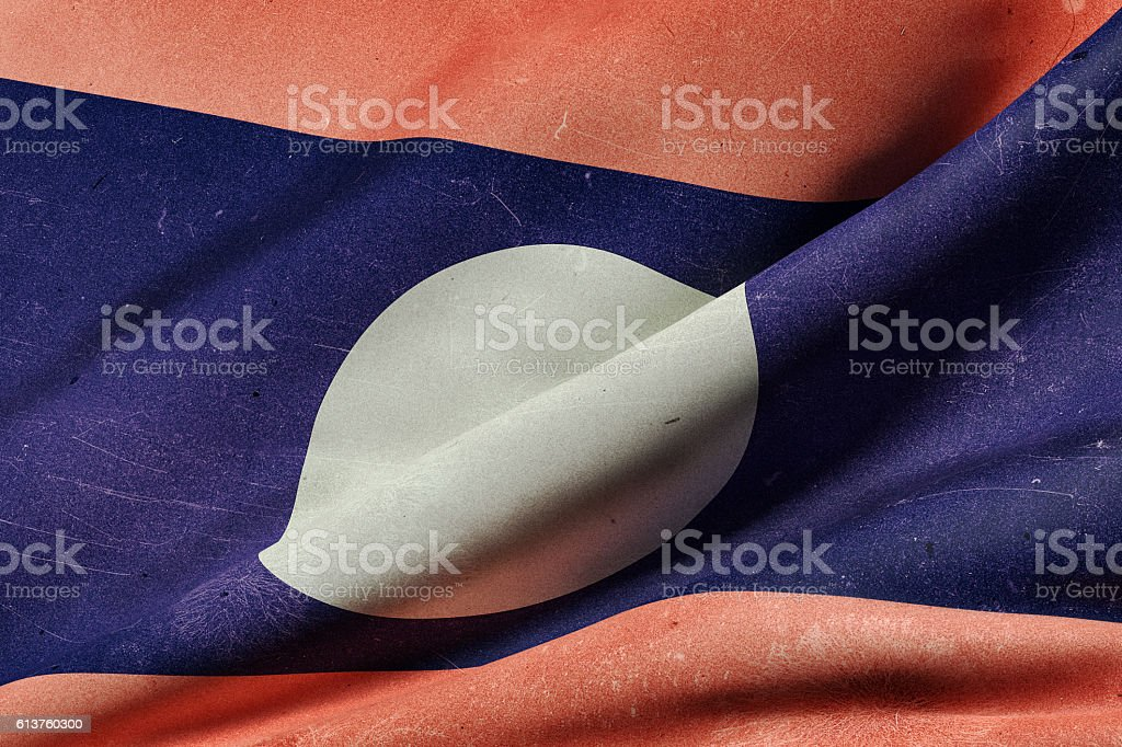 Lao People's Democratic Republic flag waving stock photo