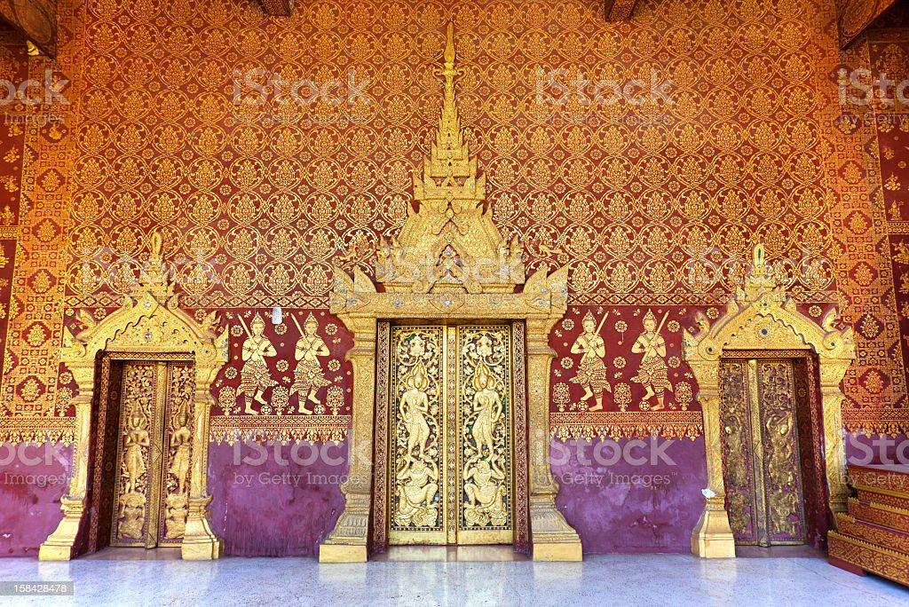 Lao Temple Door In Luang Prabang stock photo