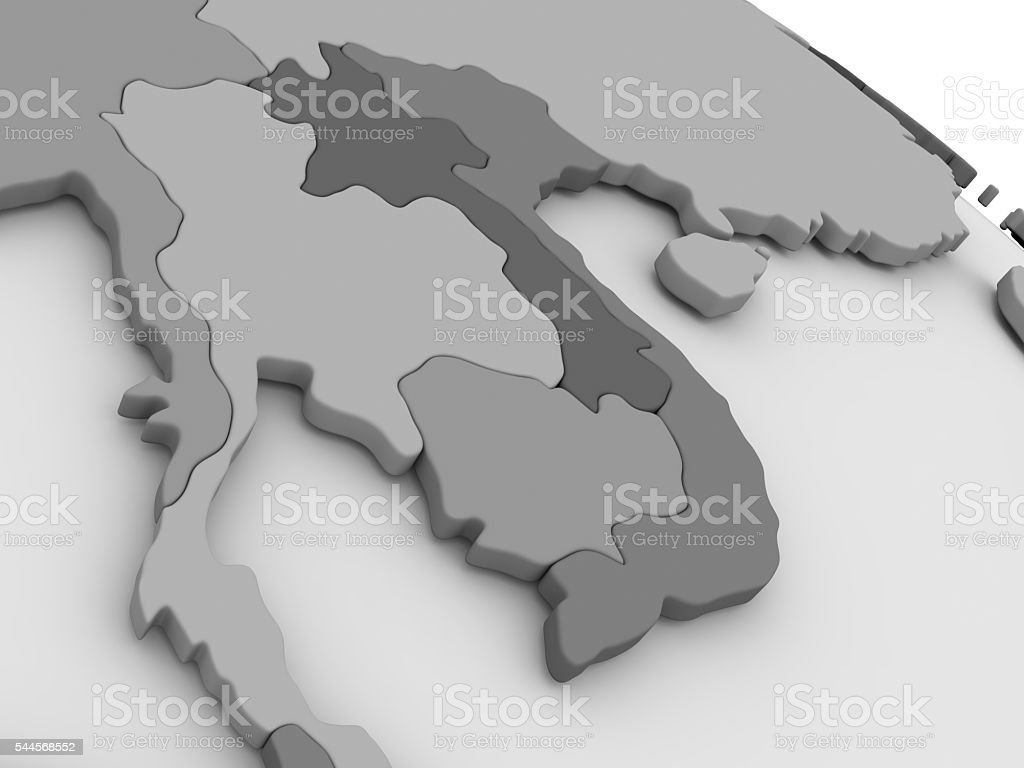Laos and Cambodia on grey 3D map stock photo