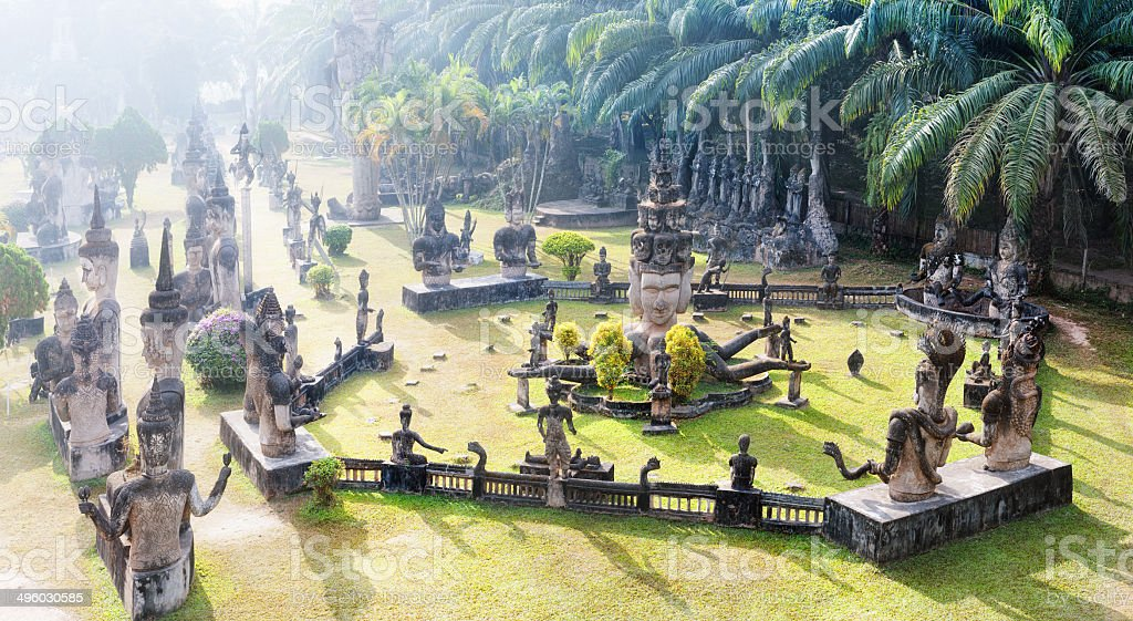 Laos Buddha park.Tourist attraction and public park in Vientiane stock photo