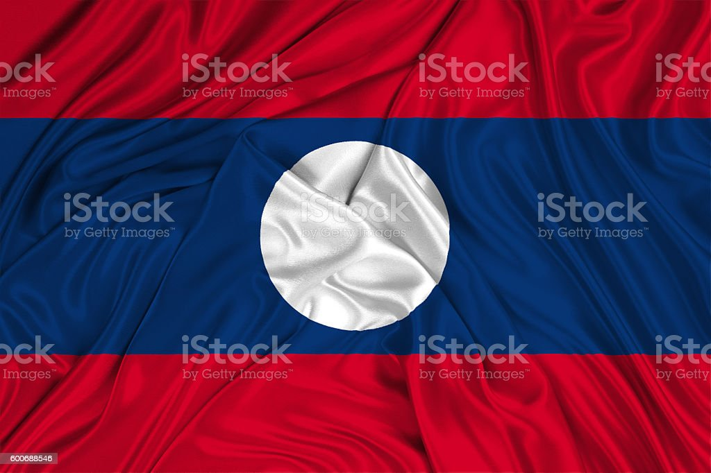 Laos flag blowing in the wind stock photo