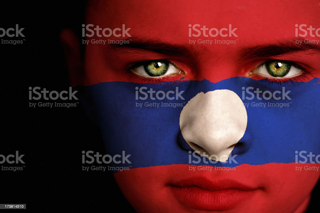 Laos flag boy stock photo
