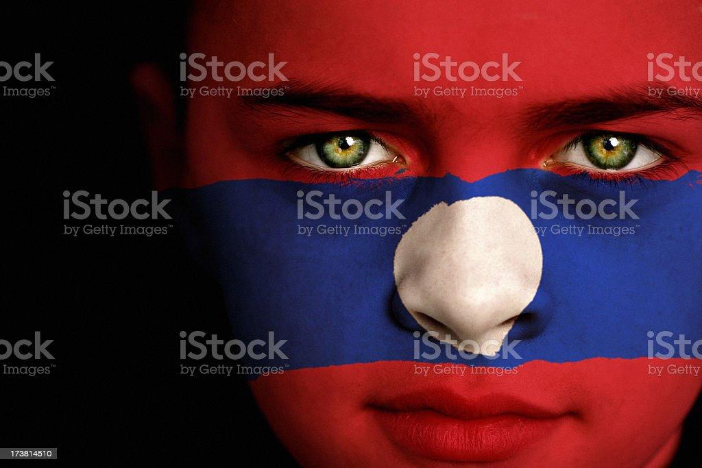 Laos flag boy stock photo