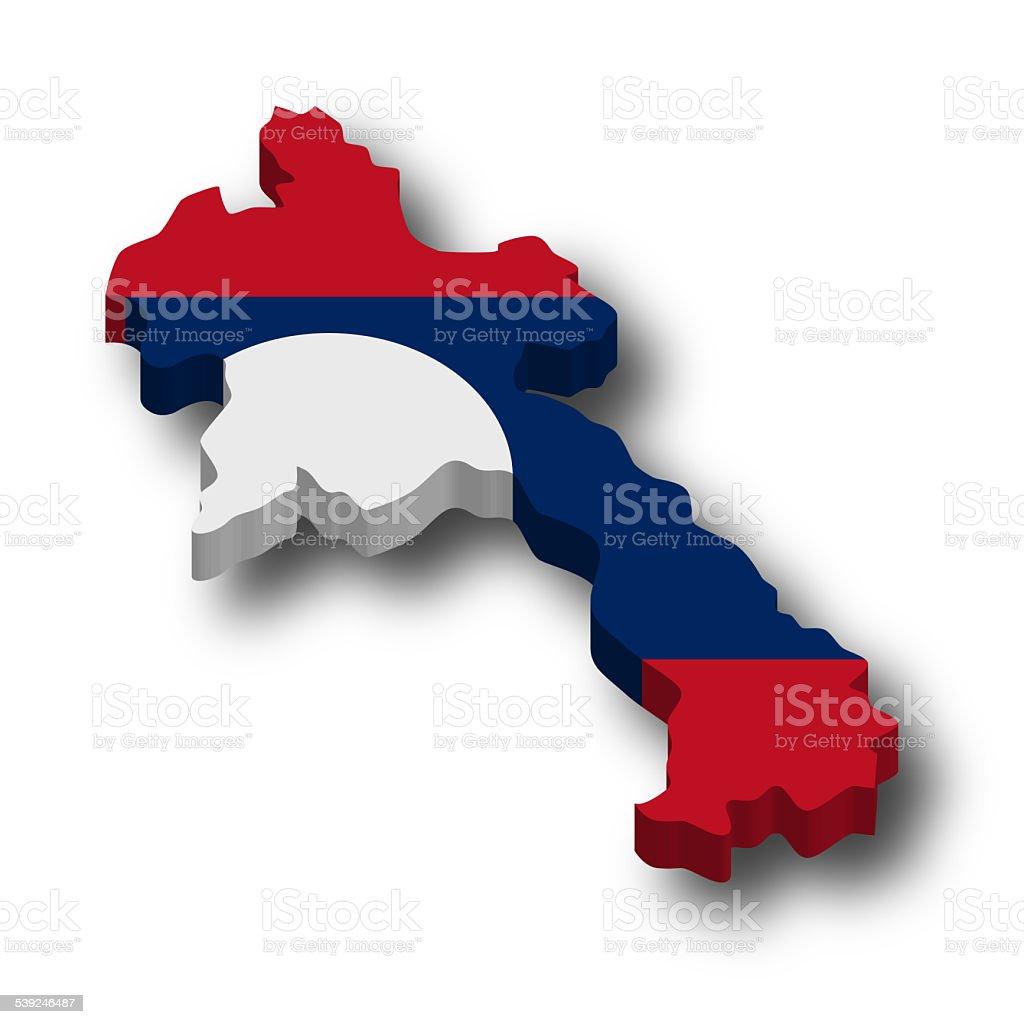 3D Laos Flag Map stock photo