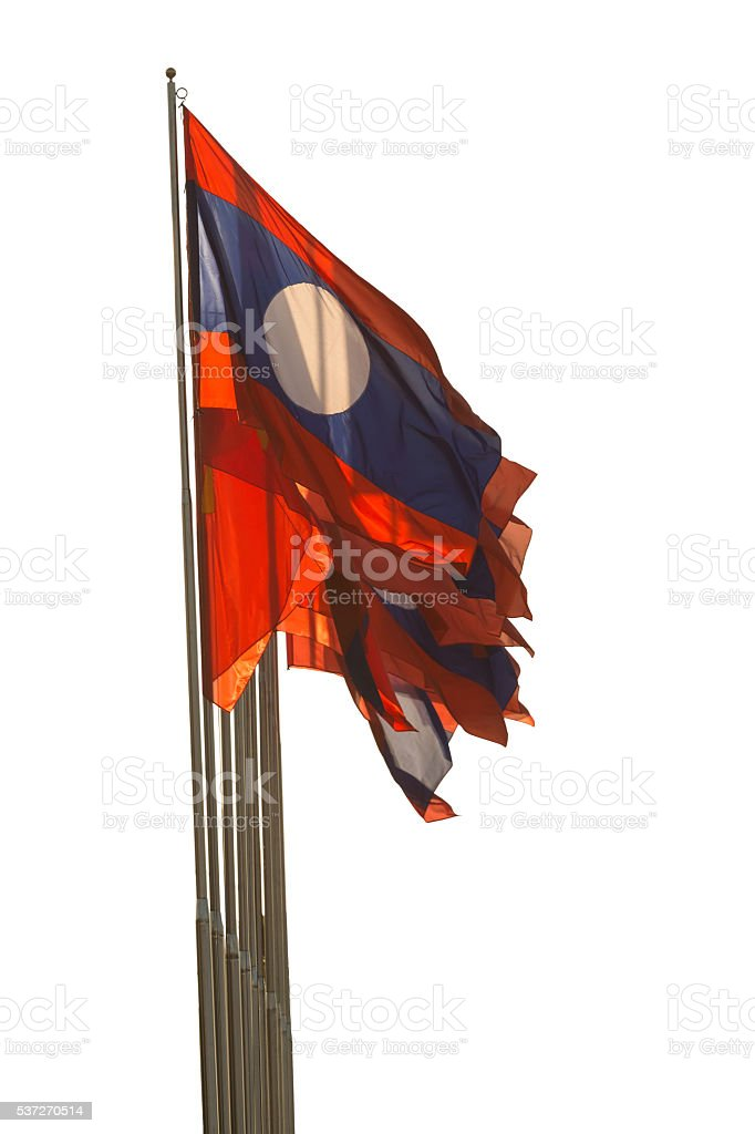 Laos flag waving isolated on white background.Clipping Path stock photo