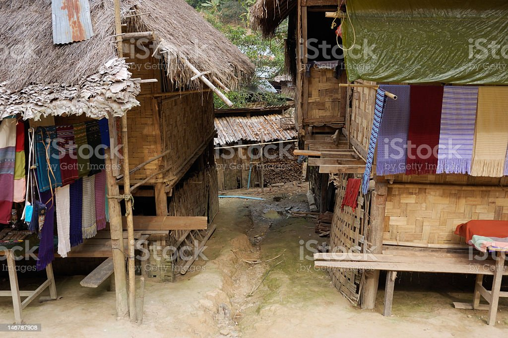Laos, hill tribe hut, house, Pile-building stock photo