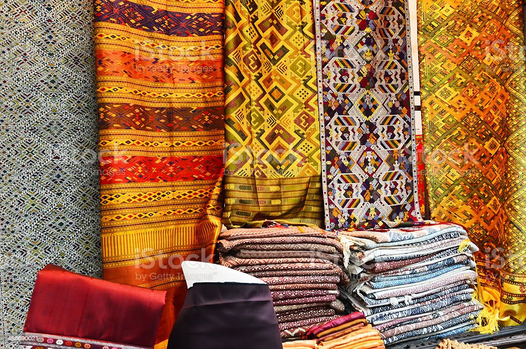 Laos silk ,handmade product for traditional costume in Vientiane, Laos stock photo