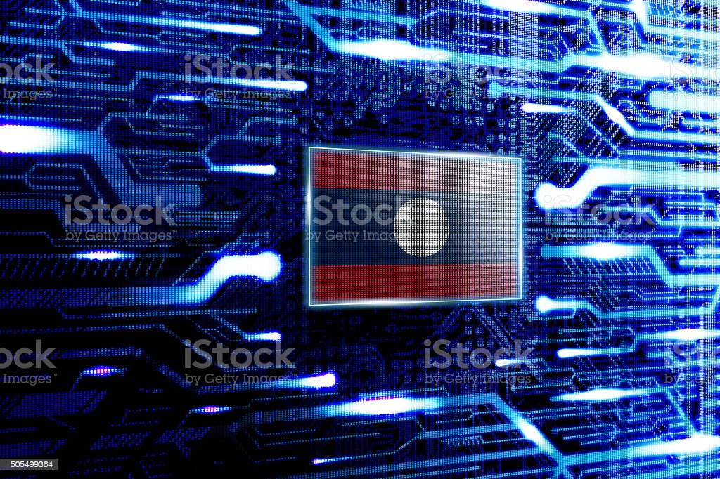 Laos, Vientiane national official state flag stock photo