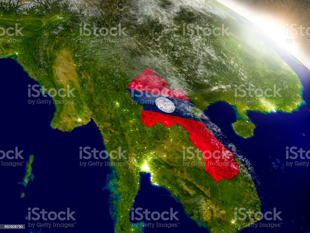 Laos with flag in rising sun stock photo