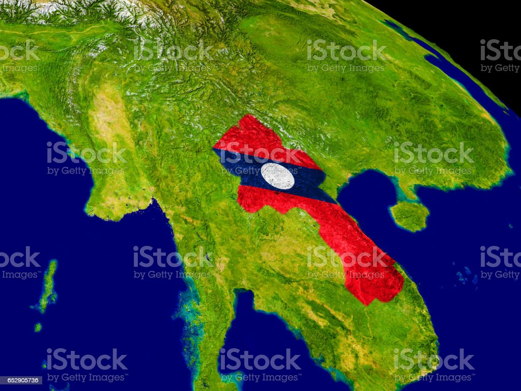 Laos with flag on Earth stock photo