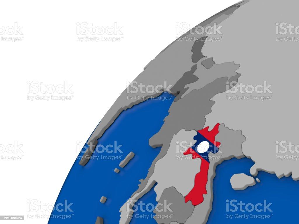 Laos with flag on political globe stock photo