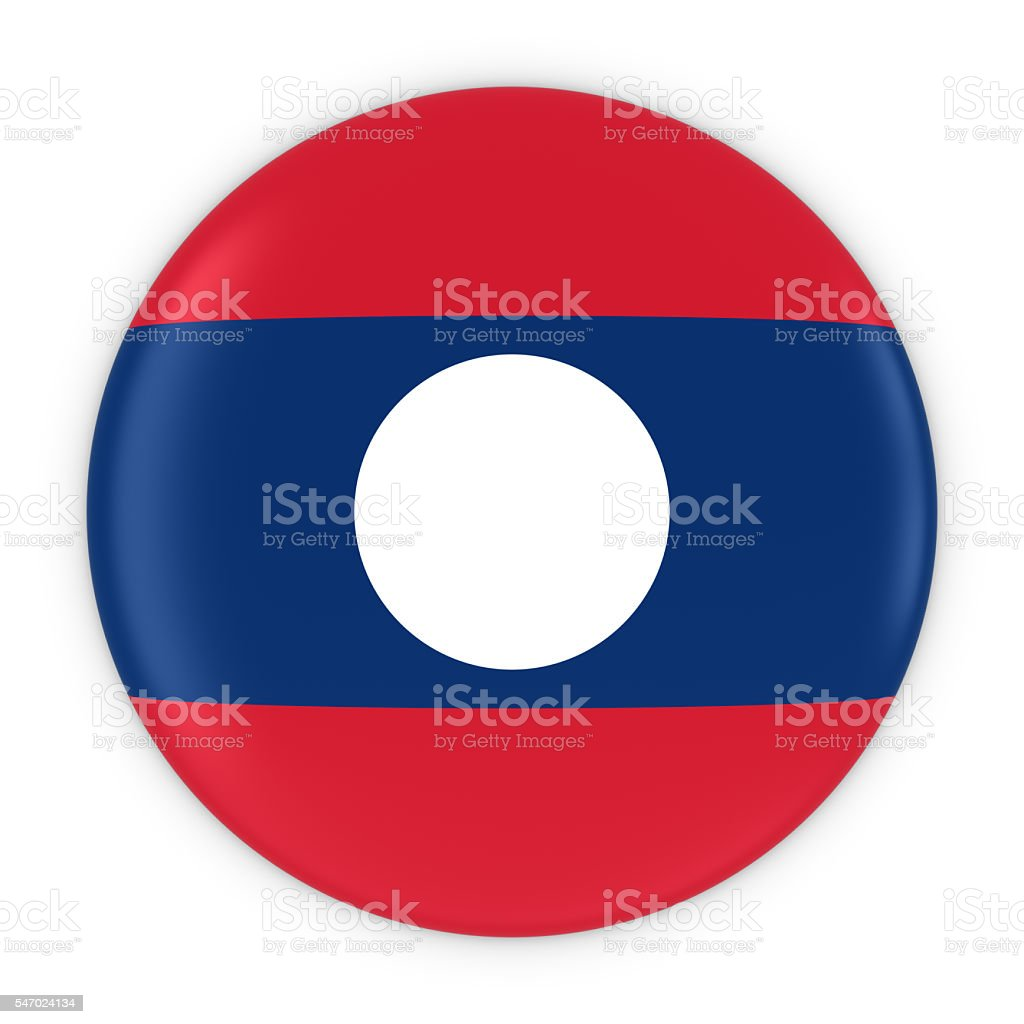 Laotian Flag Button - Flag of Laos Badge 3D Illustration stock photo