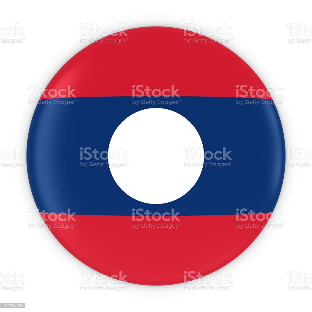 Laotian Flag Button - Flag of Laos Badge 3D Illustration stock photo
