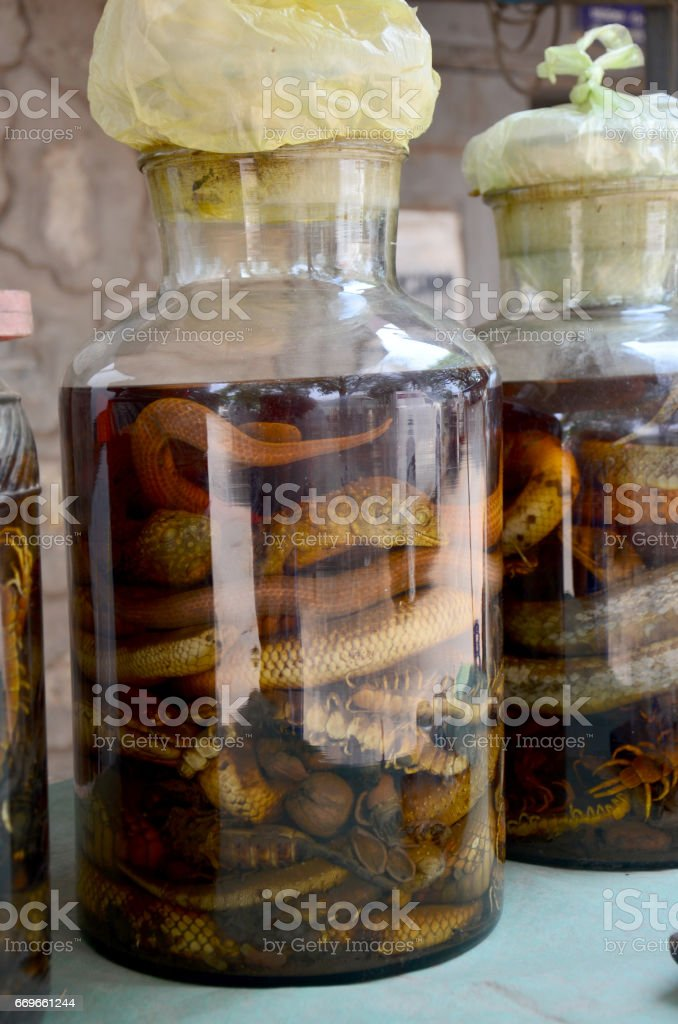 Laotian people made traditional liquor fermented and pickled with poisonous animals and poisonous insect with herba stock photo