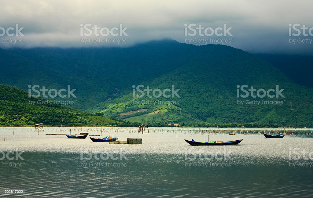 Lap An lagoon, Lang Co town, Hue, Vietnam. stock photo