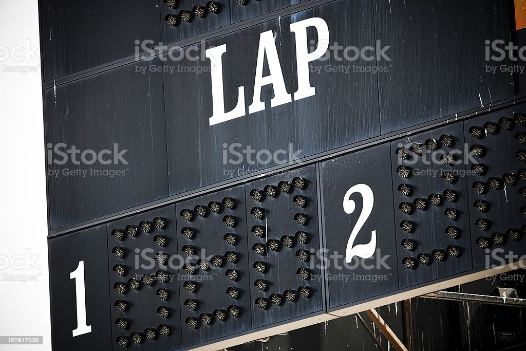 Lap counter at the race track stock photo