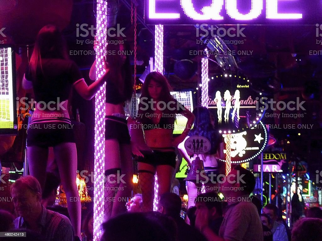 Lap dancers along Bangla road, Patong beach Thailand stock photo