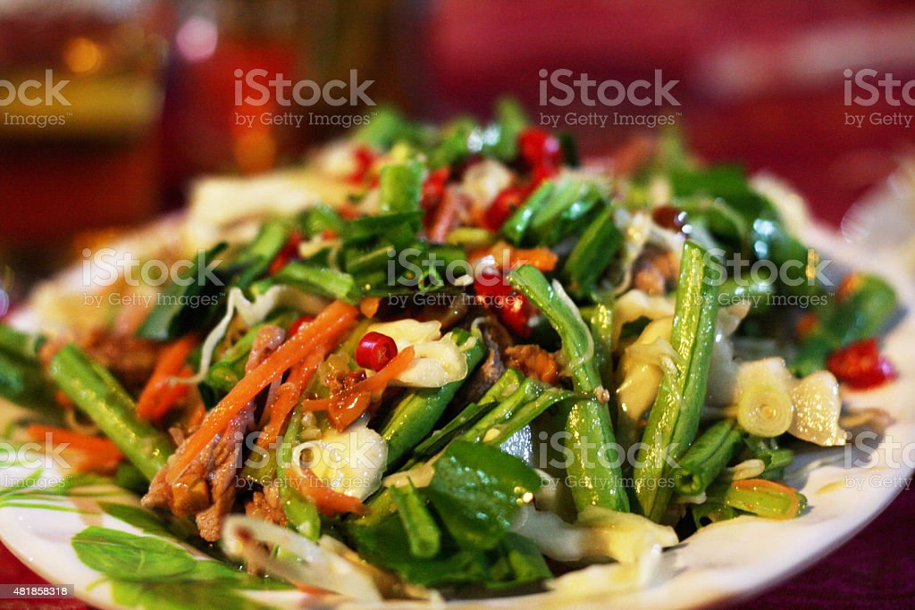 Lap Khmer: Lime-marinated Khmer beef salad stock photo
