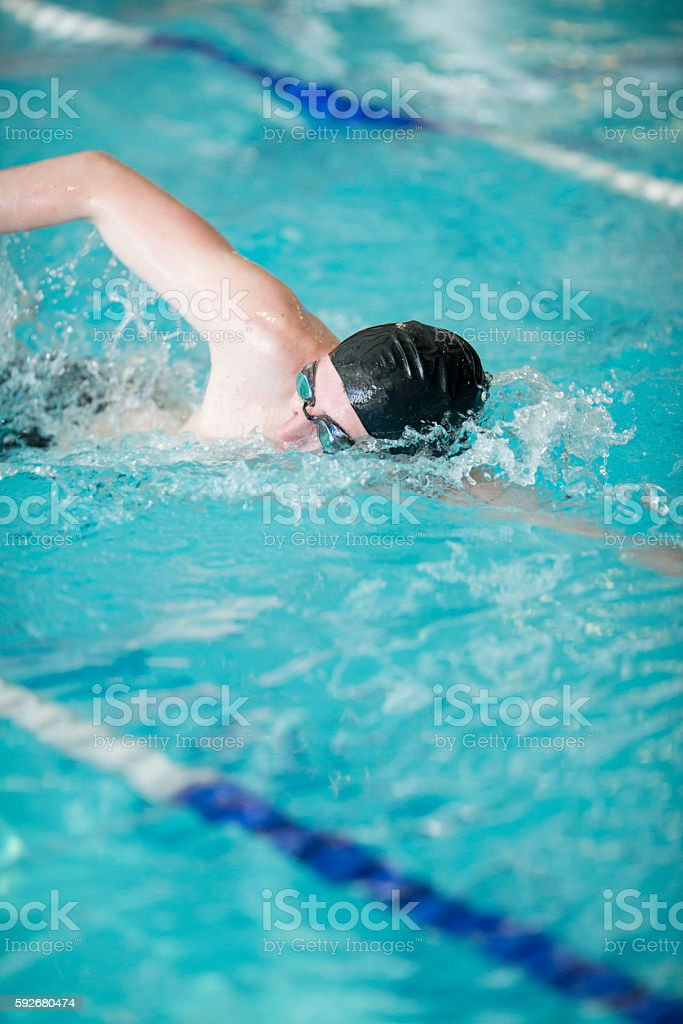 Lap Swimming at the Pool stock photo