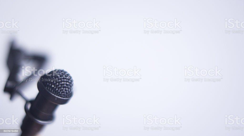 Lapel lavalier voice mini microphone stock photo