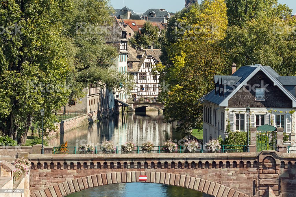 La-Petite-France in Strasbourg: View onto Ponts Couverts from Barrage Vauban stock photo