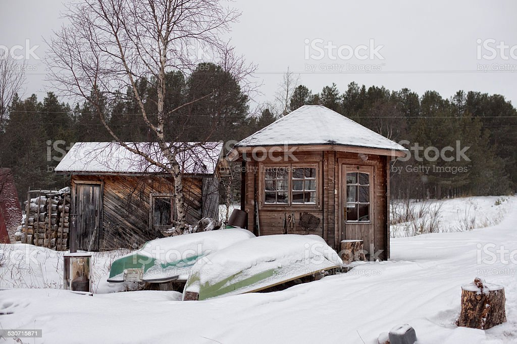 lapland frozen lake in winter stock photo