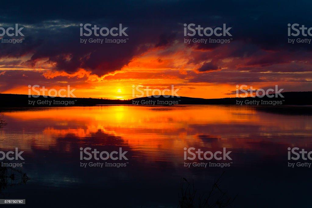 Lapland Sunset stock photo