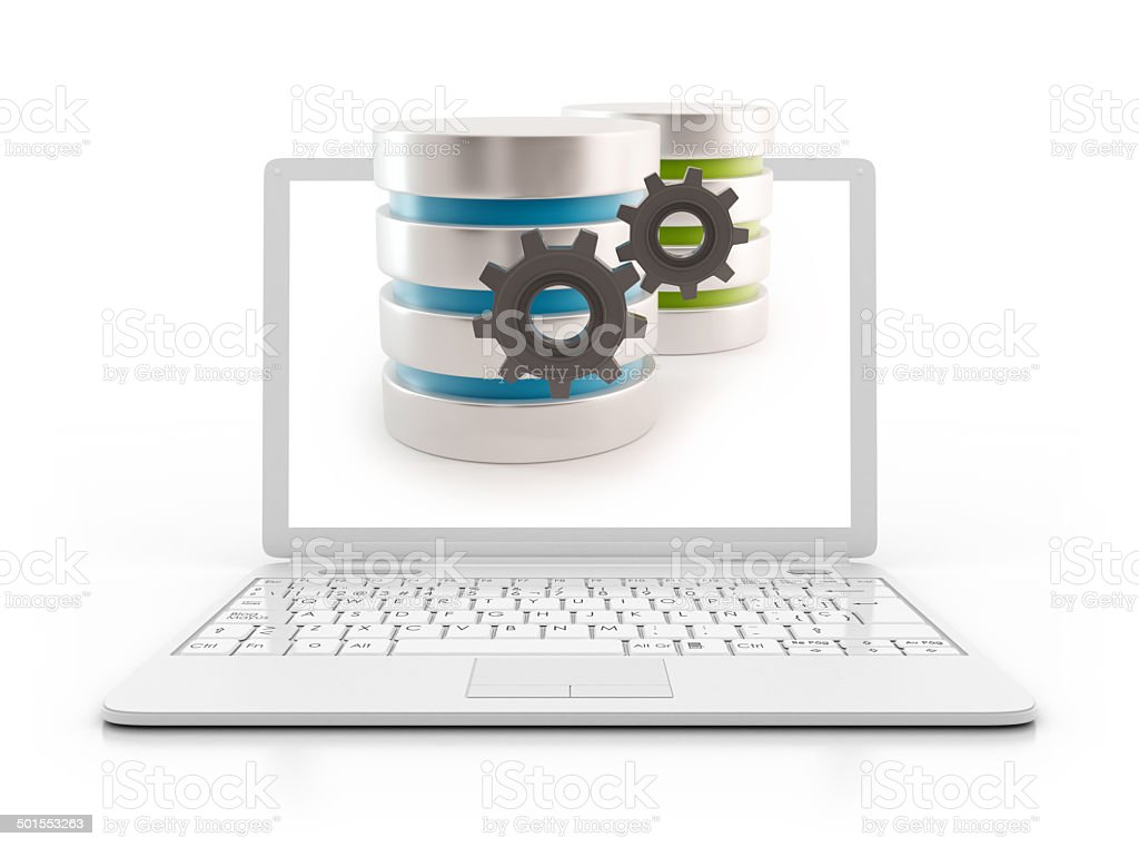Laptop - 3D Server with gears stock photo