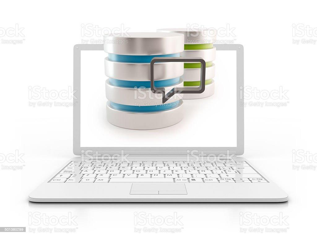 Laptop - 3D Server with speech bubble, data base stock photo