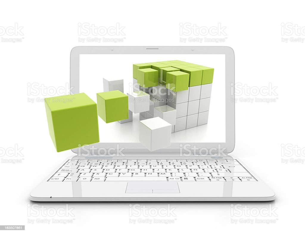 Laptop - Abstract cubes royalty-free stock photo