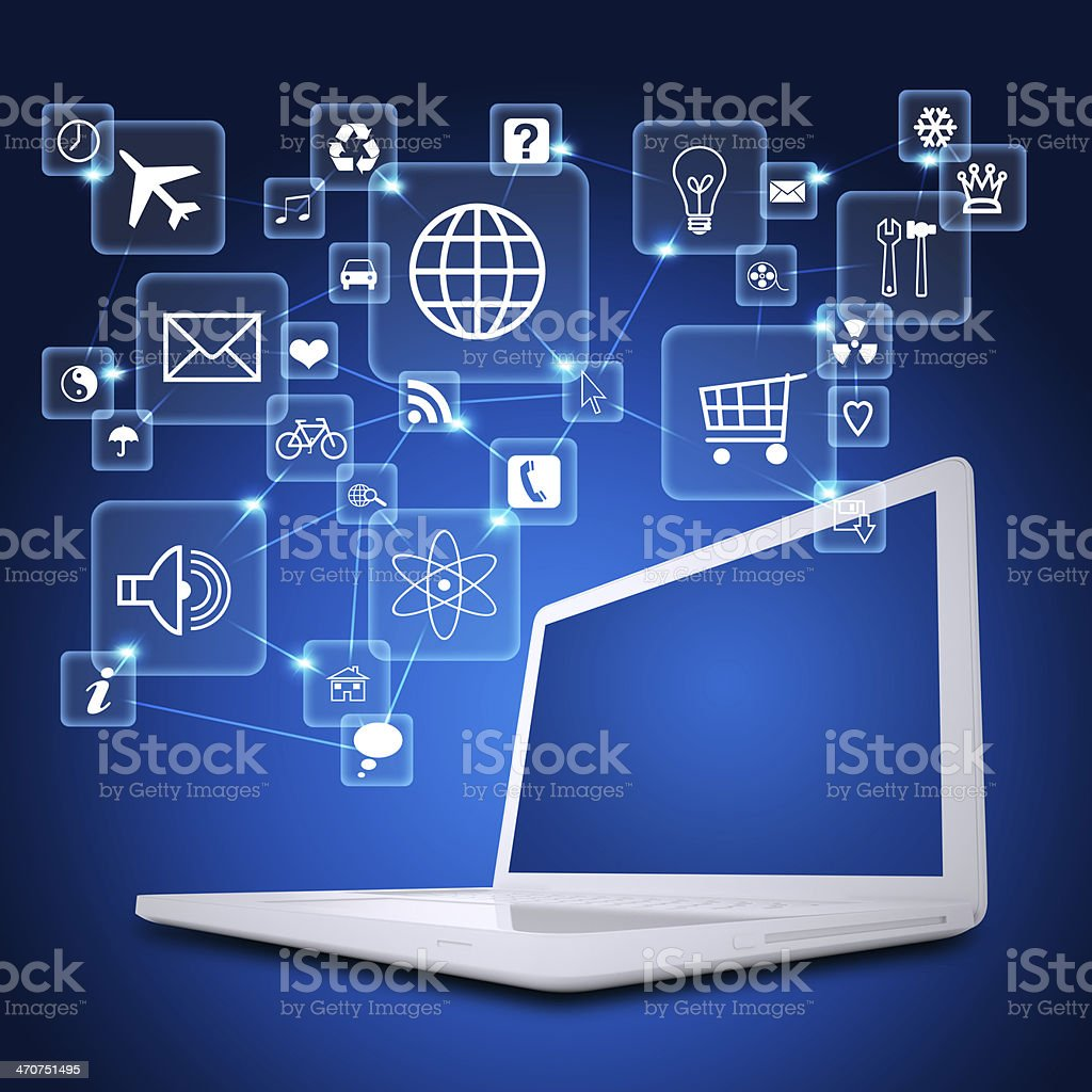 Laptop and application icons royalty-free stock photo