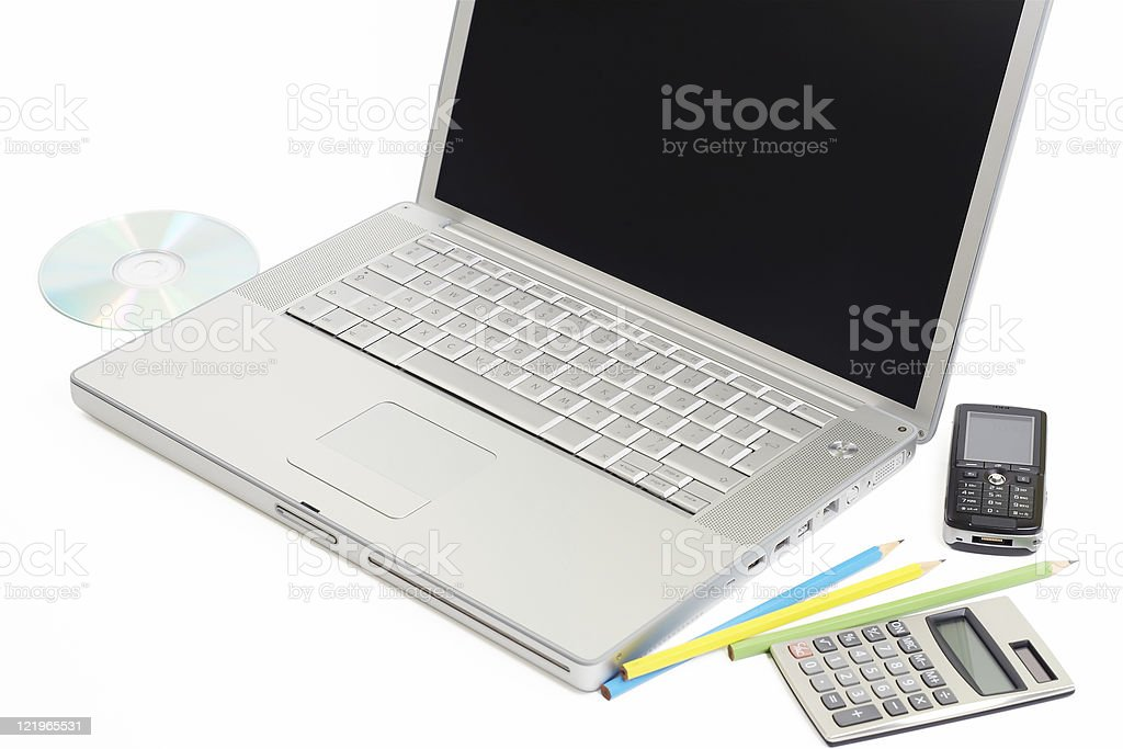 Laptop and calculator isolated on white royalty-free stock photo