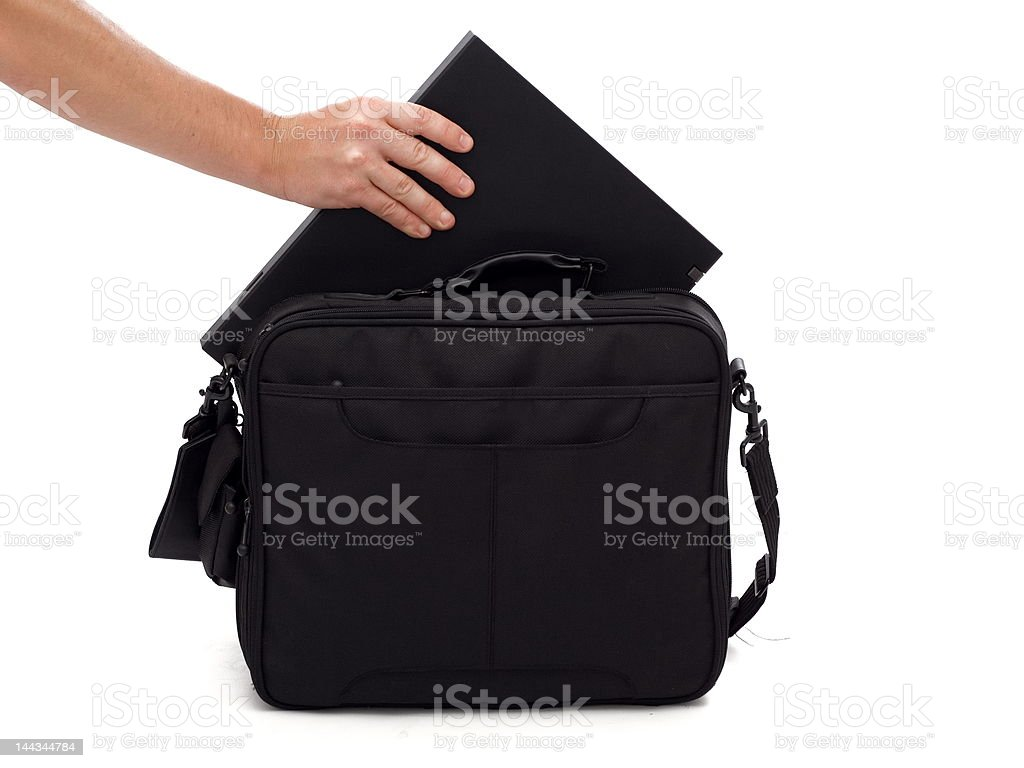 Laptop and case royalty-free stock photo