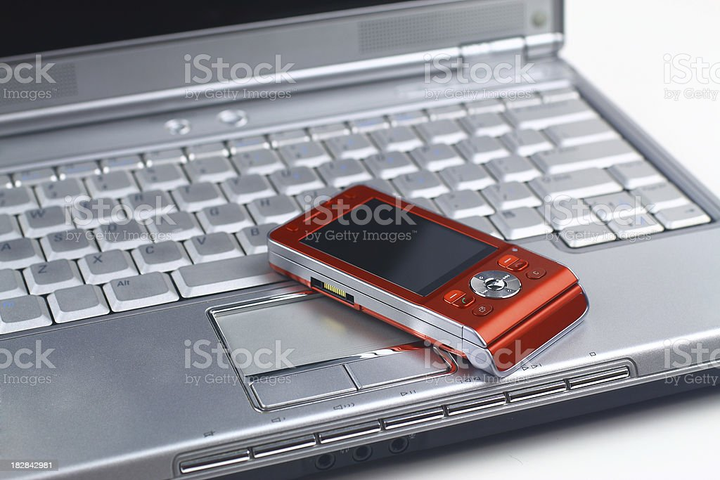 Laptop and cellphone royalty-free stock photo