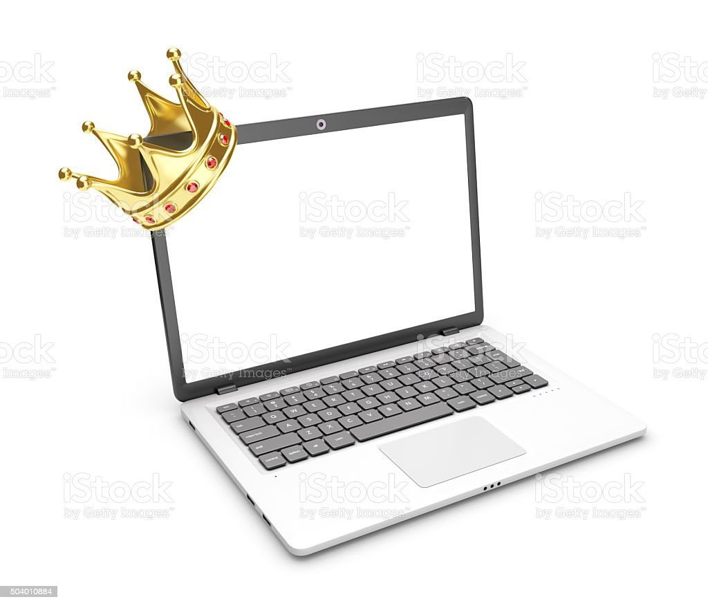 Laptop and crown on a white background. royalty-free stock vector art