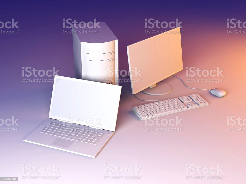Laptop and Desktop PC royalty-free stock photo
